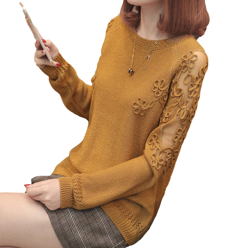2018 New Spring Autumn Sweater Pullover Fashion Long Sleeve Plus Size Loose Hollow Out Flower Knitted Shirts Tops A314