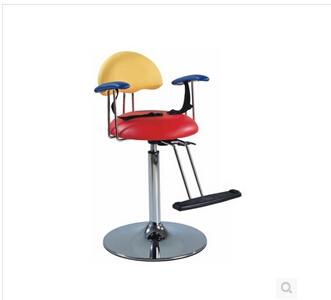 Hairdressing chair intended for children. Children safe and convenient haircut seat. Cartoon modelling chair.