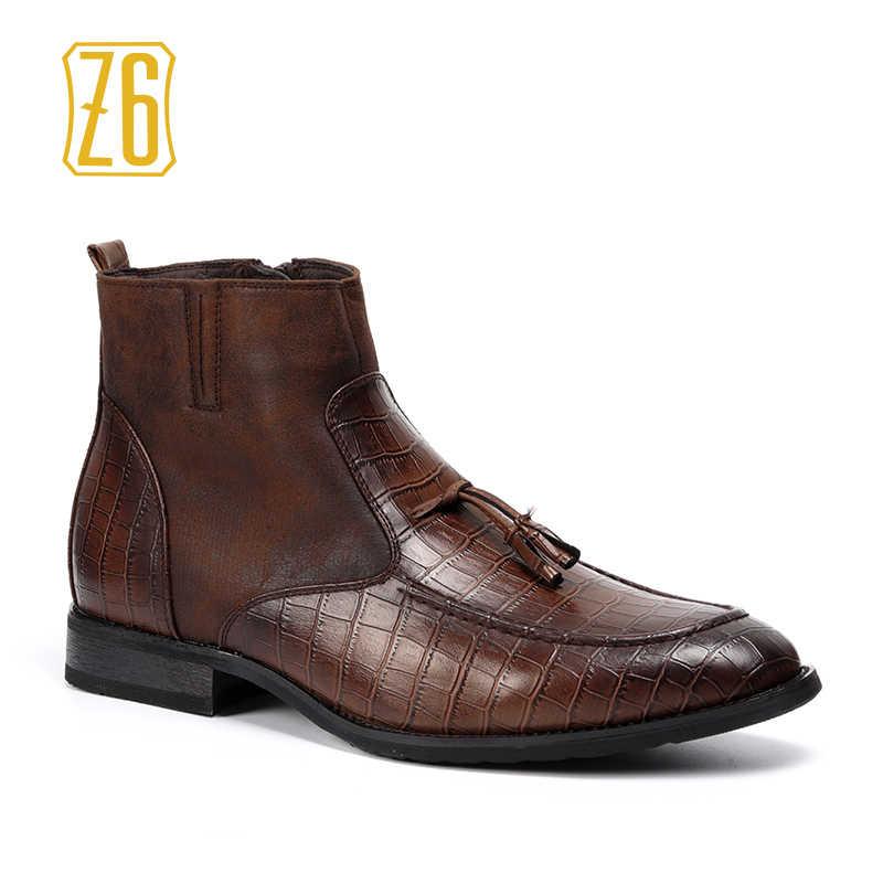 be1b71a01d44 39-48 Брендовые мужские ботинки Z6 Высочайшее качество красивый удобные  весенние ретро кожаные ботинки