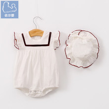 YiErYing 2PCS/LOT Baby Girls Clothing Clothes Pajamas Cute 100% Cotton Hats+Rompers Sleeveless Infant costumes baby Rompers