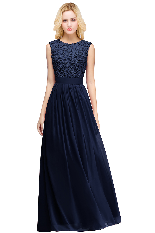 2019 Burgundy Navy Pink Chiffon Long Bridesmaid Dresses Scoop Neck Sleeveless Women Wedding Party Gown in Bridesmaid Dresses from Weddings Events
