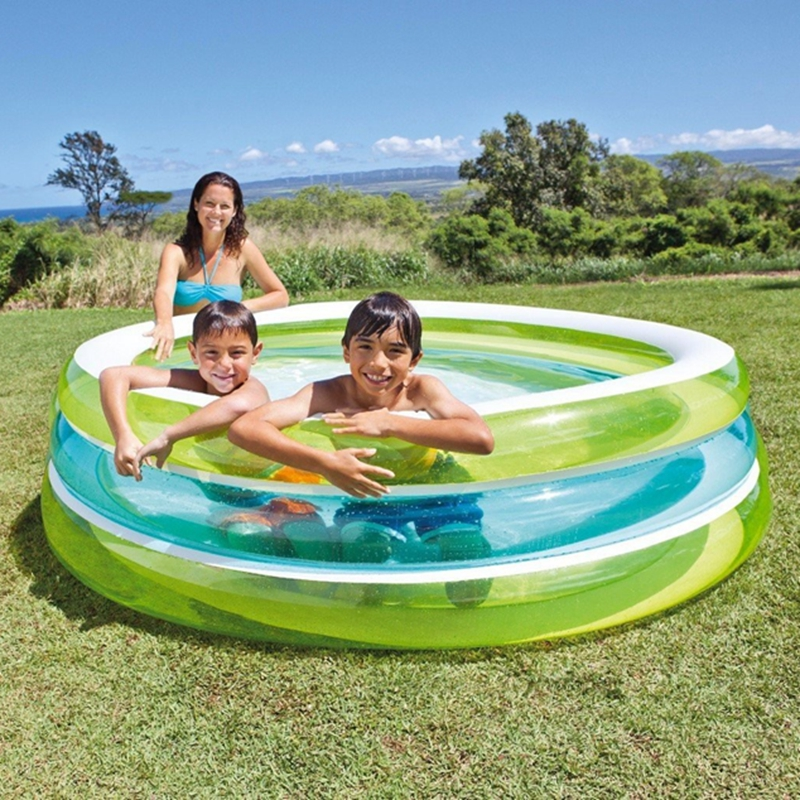 US $27.99 |INTEX Swim Center See Through Pool Round Transparent Inflatable  Kids Children Kiddie Swimming Pool For Family-in Pool & Accessories from ...