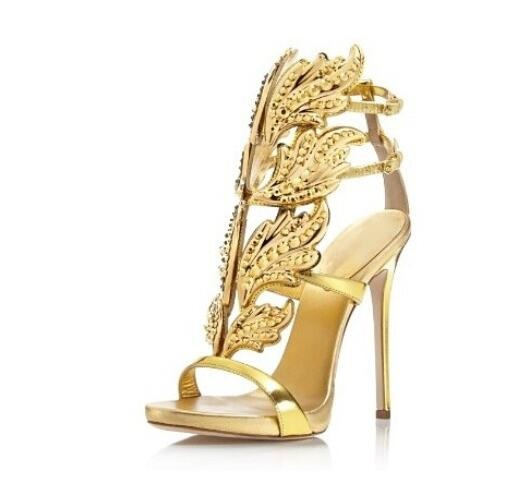 Woman Sandals Hot Selling Gold Silver Embellished Wing Coline Cruel High Heel Sandals Gilded Cage Sandals Women Size 34-42 B020 coline