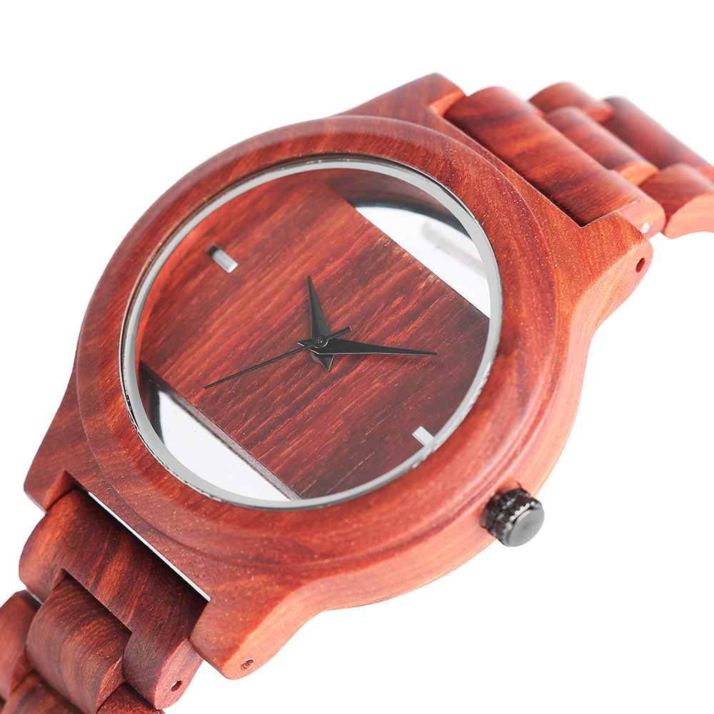 2017 New Fashion Design Wood Wathces for Men Hollow Unique Dial Novelty Bangle Sport Full Bamboo Handmade Male Quartz Watch Gift