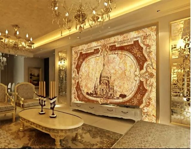 Best Quality!Imitation Marble Effect Fine Imperial Palace Design 3d Wallpaper 3d Mural Use For