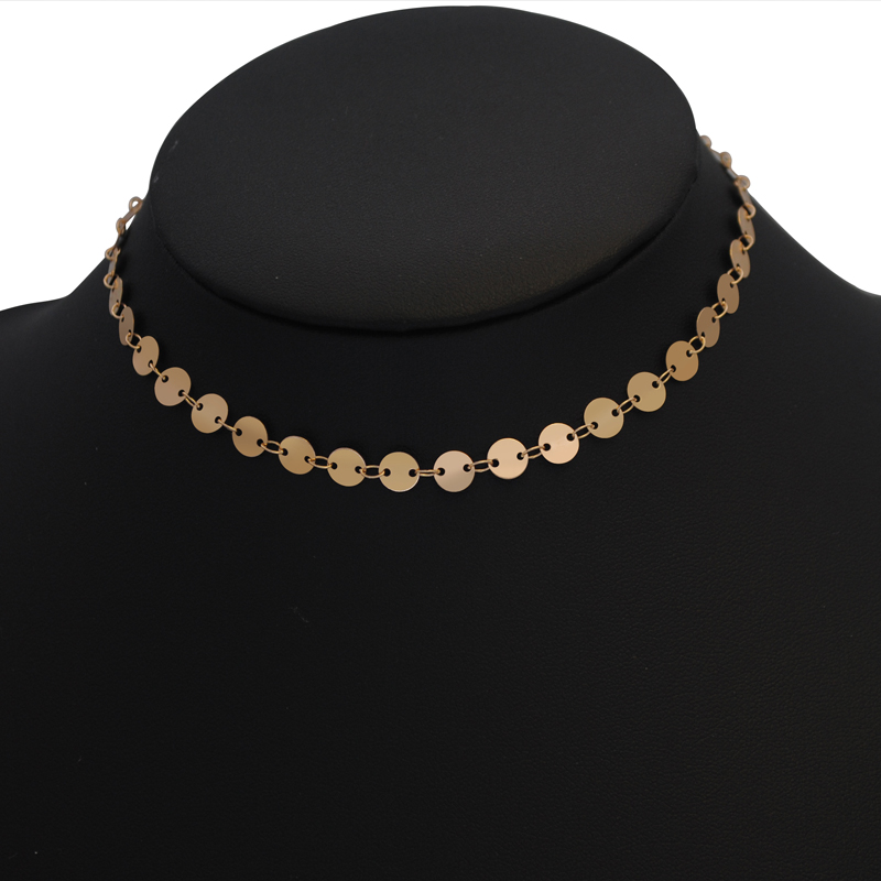 Yumfeel New Fashion Jewelry Choker Necklaces Natural Stone Pendant Necklace Gold Disc Choker Necklace Set 2pcs/Set