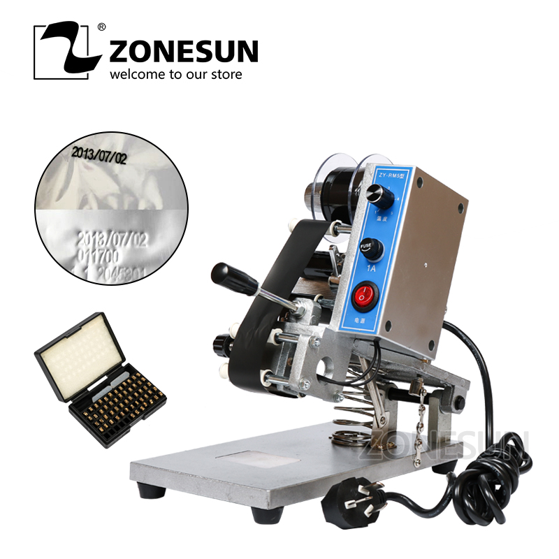 ZONESUN ZY-RM5 Coding Machine Color Ribbon Hot Printing Machine Heat Ribbon Printer Film Bag Date Printer 220V/50Hz zonesun rolling ribbon printer electric hot thermal printing machine number turning expiration code date number printer