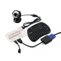 Waveshare Raspberry Pi Accessories Pack C including USB Camera 0307 Mini Wireless Keyboard Micro SD Card Ethernet Cable USBCable