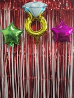 ShinyBeauty Foil Curtain 27X8FT Red Metallic Door Window Curtain Party for Halloween Party Curtain Decoration a