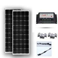 TUV CE Солнечная панель комплект 200 Вт Panneau Solaire 12 В 100 Вт 2 шт. Контроллер заряда 12 В/24 В 20A PWM 2 в 1 разъем Z кронштейн
