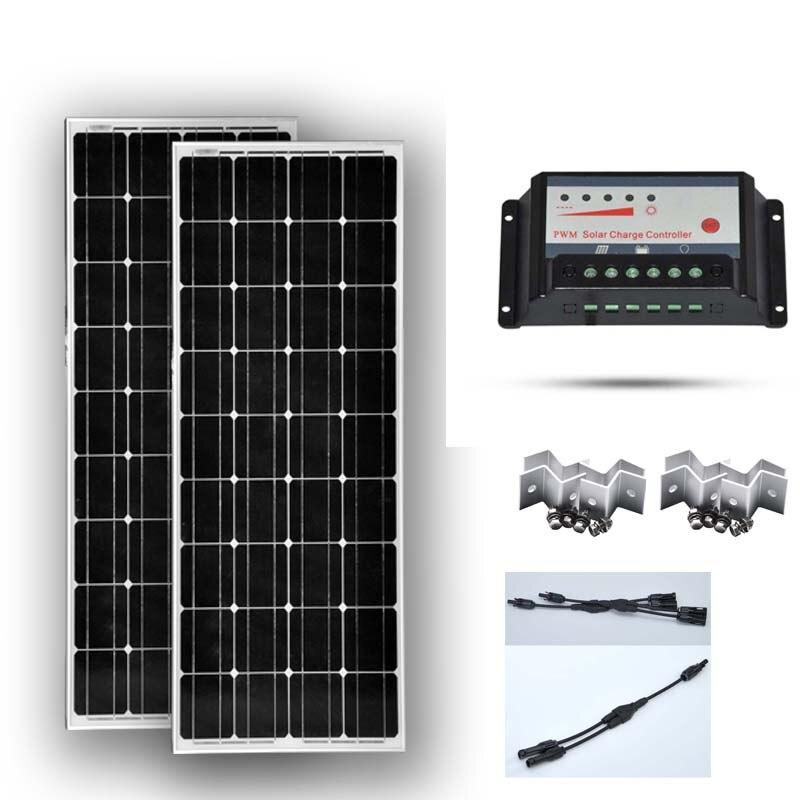 TUV CE Kit di Pannelli Solari 200 W Panneau Solaire 12 v 100 W 2 Pcs Solar Regolatore di Carica 12 v /24 v 20A PWM 2 in 1 Connettore Z Staffa