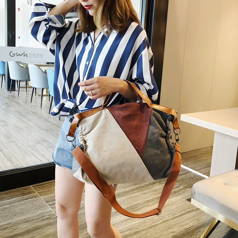 2019 Summer New European and American New Canvas Hand Shoulder Shoulder Color Large Capacity Retro Wild Messenger Bag in Top Handle Bags from Luggage Bags
