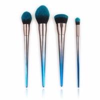Professional 4 7pcs Set Diamond Shaped Makeup Brush Beauty Tools Flame Brush Eye Shadow Brush Blue