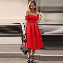Hot Red Cocktail Party font b Dress b font 2016 Strapless Tea Length font b Prom