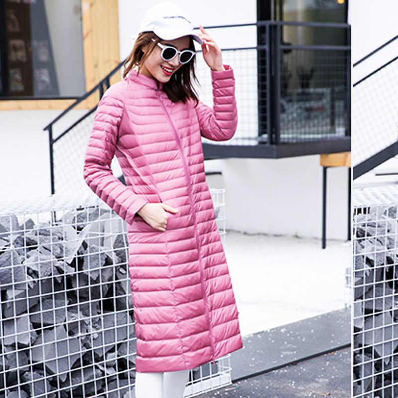 Женский удлиненный тонкий пуховик, женский ультра-светильник, стоячий воротник, Теплое повседневное пуховое пальто на молнии, белый утиный пух, ветрозащитная верхняя одежда