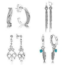 0251b0b66 Spiritual Feather Enchanted Tassels Elegant Wave Stud Earring 925 Sterling  Silver Earring For Women Wedding Gift