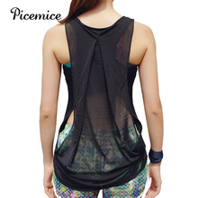 Picemice Women s Sports Vest Hollow out Sexy font b Fitness b font Yoga Shirt Fitting