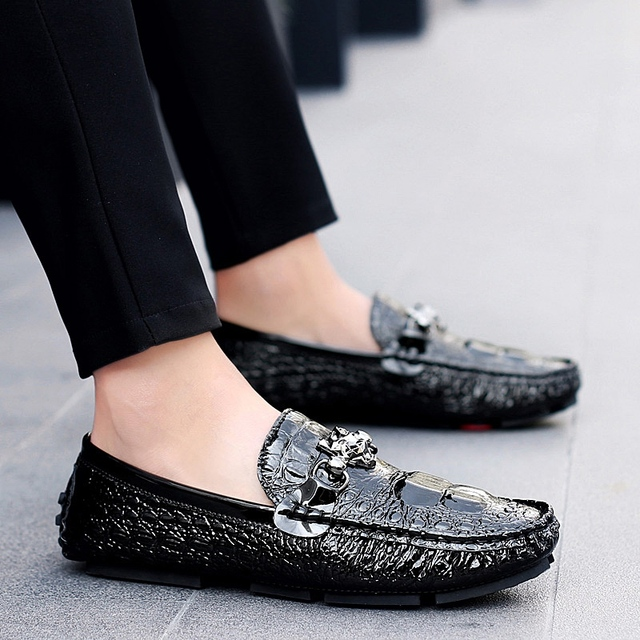 3ab4c8816a Shoes Men Loafers Leather Moccasin Crocodile Style Footwear Slip On Flat Driving  Boat Shoes Classical Male Chaussure Homme 38-46