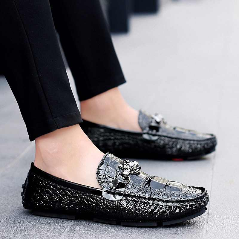 e4659209bc4fb Shoes Men Loafers Leather Moccasin Crocodile Style Footwear Slip On Flat Driving  Boat Shoes Classical Male