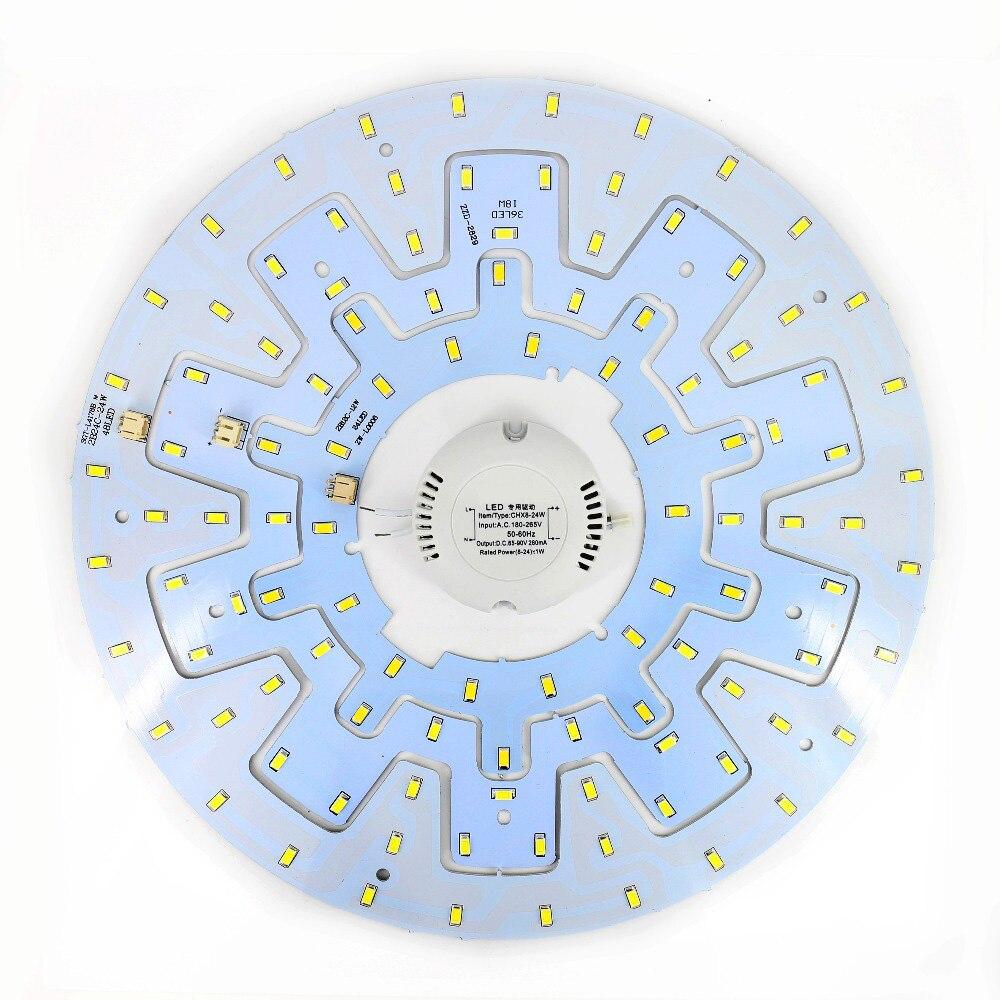 12 W 18 W 24 W techo accesorio LED anillo Panel círculo luces 5730 LED redondo techo tablero Circular lámpara con tornillo magnético + conductor