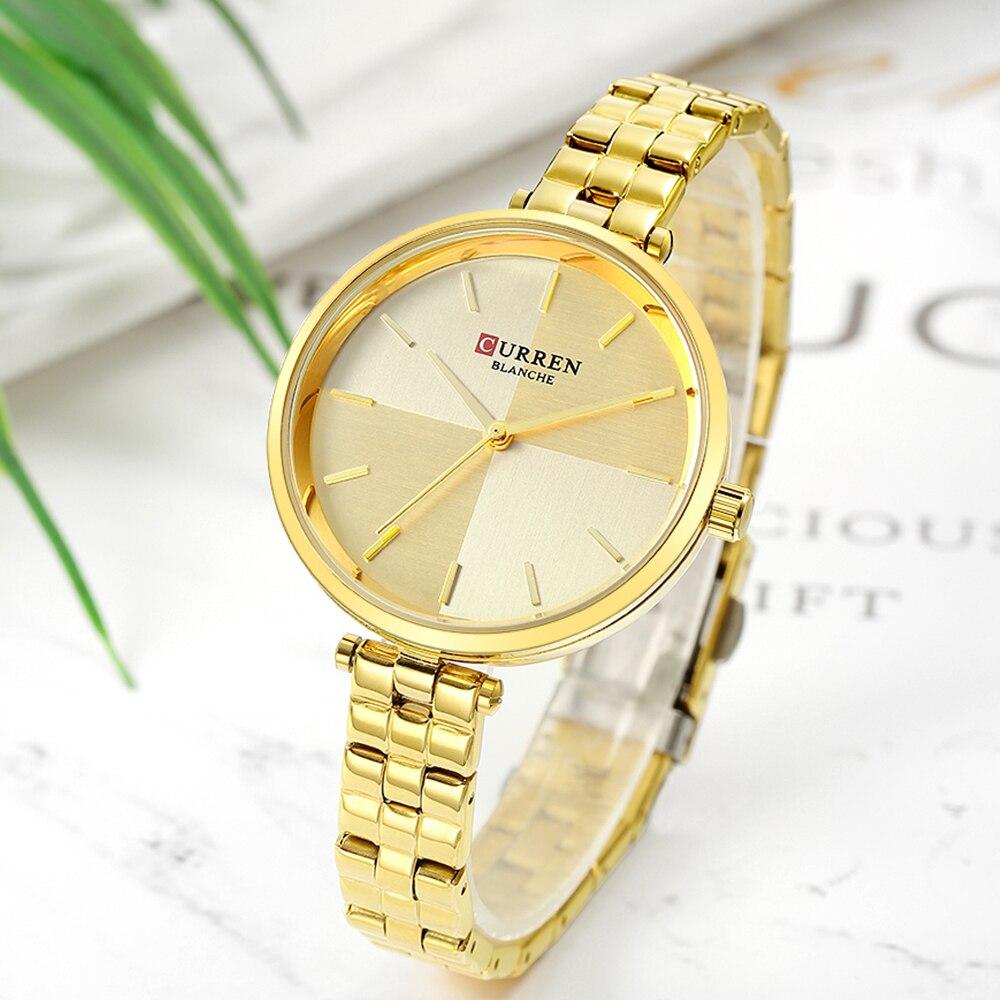 2019 CURREN Creative Design Watch Women Quartz Watches Fashion Dress Stainless Steel Band Wristwatch Ladies Clock Montre Femme