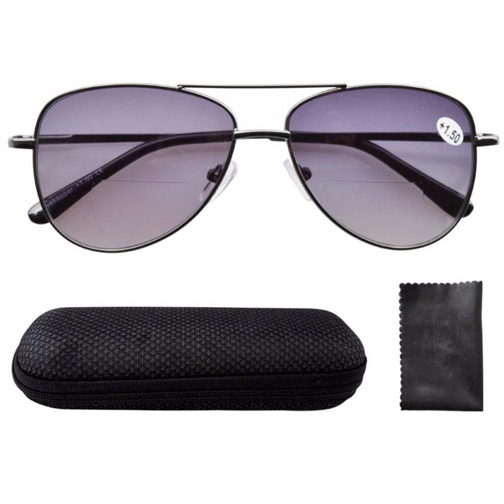 Pilot Style Bifocale Lunettes de soleil avec UV400 Protection Lentilles et charnières à ressort Lunettes pour homme