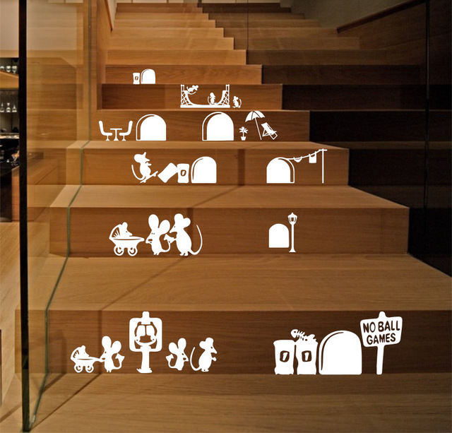 Cartoon Mouse Vinyl Wall Stickers Stairs Room Art Design Decor Mice Hole Decals Decoration Hot 22x55cm Cp1703