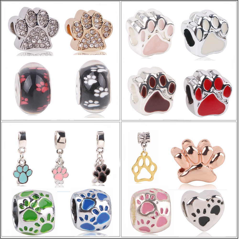Ranqin 2019 Fashion Bangles Necklace Color Silver Fit Pandora DIY Bead Pendant Lovely Gift Dog Cat Bear Claw Footprint Pink Blue