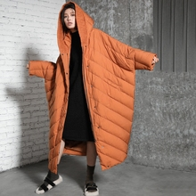Orignal Design New Arrival 2017 casual warm thick hooded x long winter coat cloak oversize white duck down jacket women