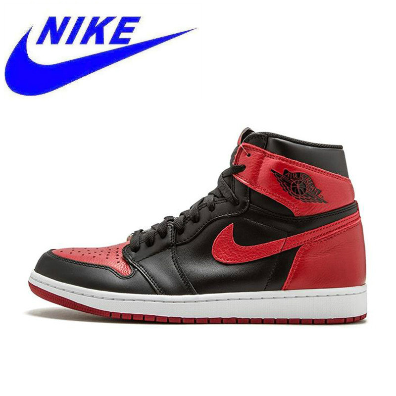 e1a607823d33 Original New Arrival Nike Air Jordan 1 OG Banned AJ1 Breathable Men s  Official Basketball Shoes Sports Sneakers 555088 001-in Basketball Shoes  from Sports ...