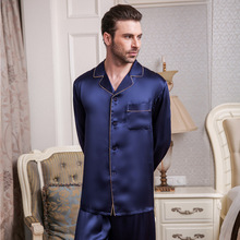 Genuine Silk Pajamas Male Spring Summer Long-Sleeve Pants Two-Piece Pyjama Sets 100% Silkworm Silk Men's Sleepwear T9002