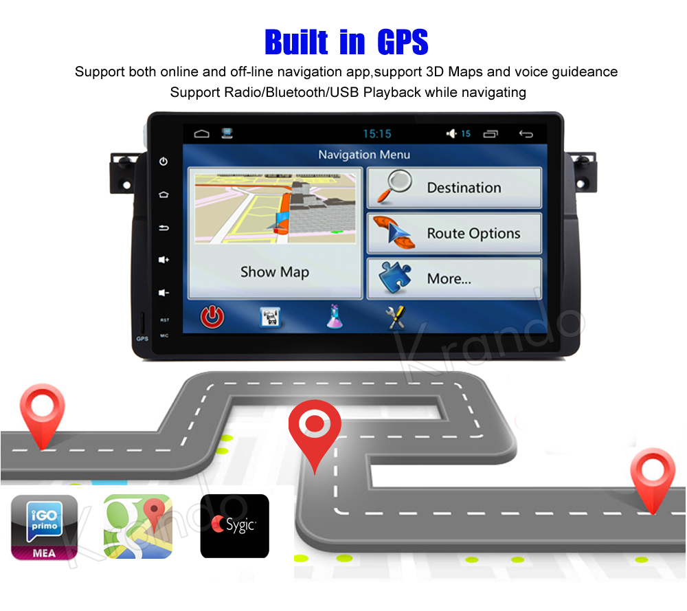 """Best Krando Android 8.1 9"""" Full Touch Car Radio Player Gps"""