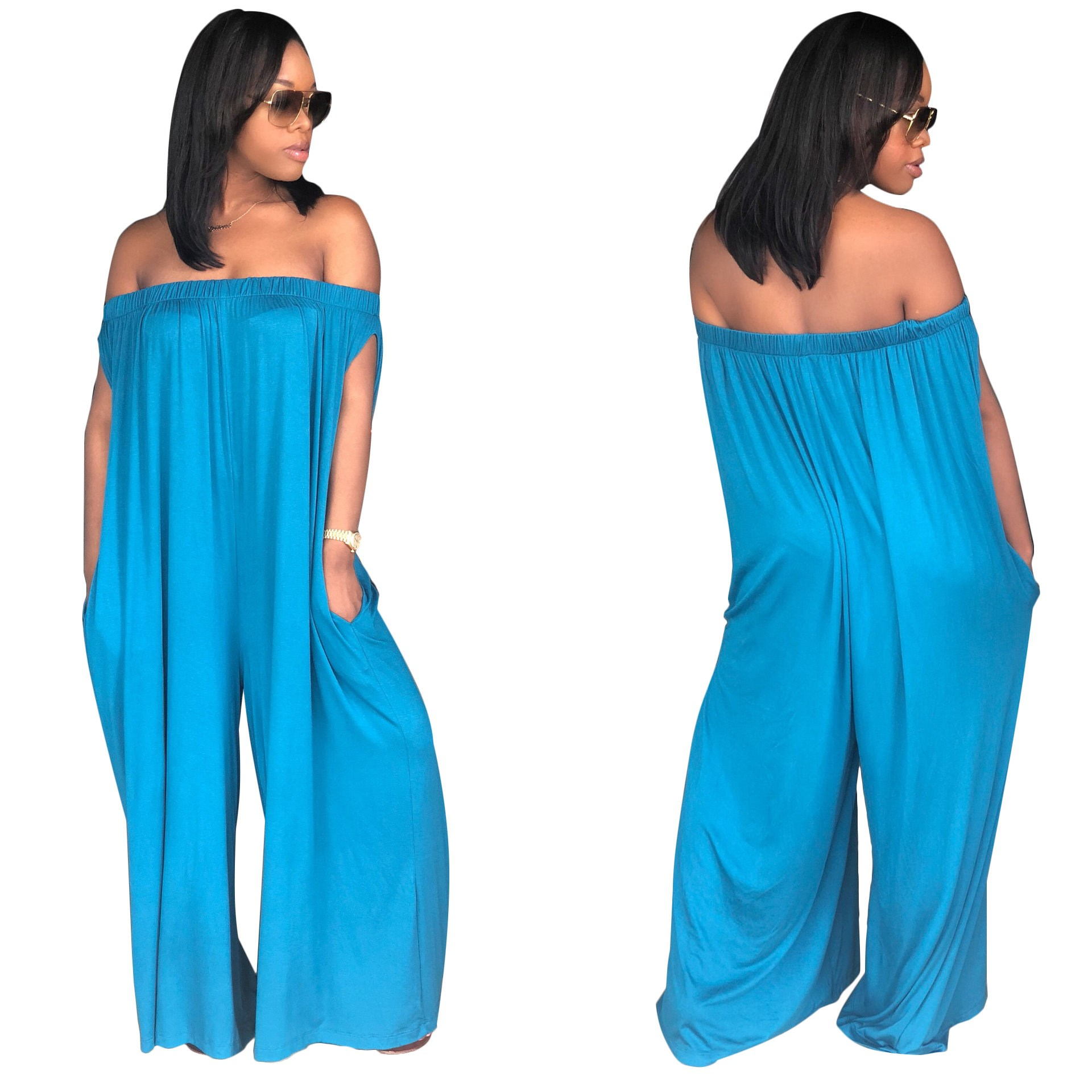 Plus Size Rompers Womens Loose Jumpsuit Body Overalls Club Ladies Backless Off Shoulder Slash Neck Solid Sexy Jumpsuits