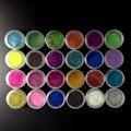 24 Colores Glitter Polvo Metálico de Color Polvo de Acrílico Del Clavo Del Polvo de Uñas Purpurina Holográfica Oropel Polvo Decoración SF0047