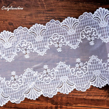 2Yards 24 cm Width White stretch lace Lingerie white Bridal wedding Lace wide trims fabric Bra Sewing Materials