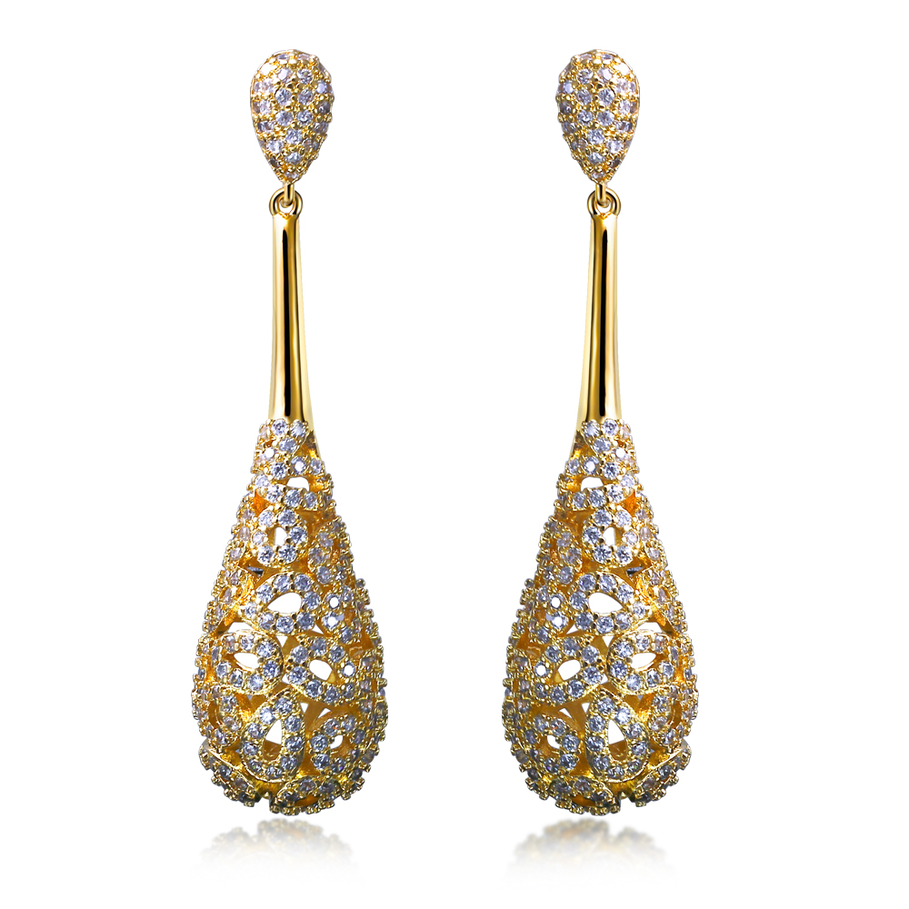 Luxury Women Earring Long Drop Earrings Setting White Cz Classic Style Fashion Jewelry High