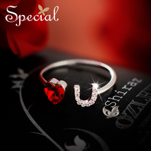 The SPECIAL New Fashion sterling 925 silver ring, womens fashion personality can adjust heart-shaped ring  S1734R
