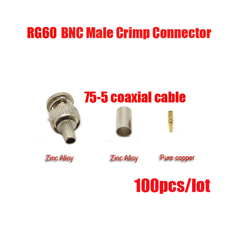 цена на Free shipping 100PCS/Lot BNC male crimp plug for 75-5 RG60 coaxial cable, RG60 BNC Connector 3-piece crimp connector plugs RG60