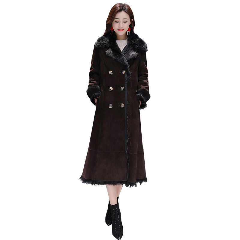 Women 39 s Jacket Warm 2019 New Coat Parka Fur Collar X Long Brown Jackets Leisure Plus Size Female Parkas Thicken Outerwear Winter in Parkas from Women 39 s Clothing