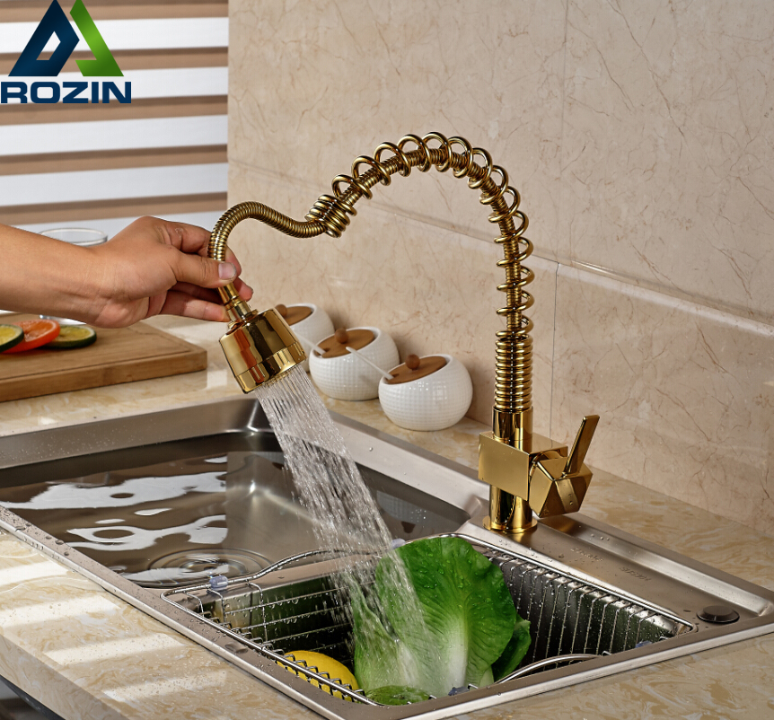 2016 New Style Spring Kitchen Sink Mixer Taps One Handle Pull Out Cold Hot Water Faucet Golden 2016 new spring