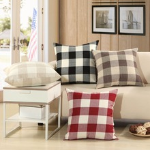 Plaid Linen Cushion Covers 45cm*45cm Home Decorative Sofa Chair Bed Pillow Covers RED BROWN GRAY BLCAK CREAM Office set Pillows цены