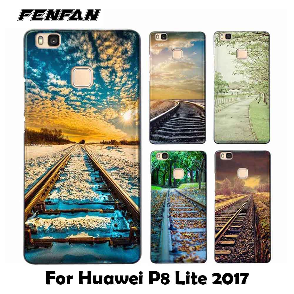 Soft TPU cover for coque Huawei P8 lite 2017 case Railway scene for fundas Huawei P8 lite 2017 arrivals for Huawei P8 lite 2017