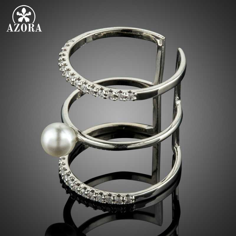 AZORA Adjustable Wedding Pearl Rings for Women Bridal Engagement Wedding Jewelry Clear Cubic Zirconia Whole Finger Ring TR0219
