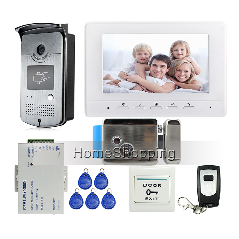 FREE SHIPPING 7 Screen Video Door Phone Intercom System + 1 White Monitor + Outdoor RFID Access Doorbell Camera + Electric Lock free shipping electric electronic door lock remote access video intercom doorphone deadbolt doorbell lock
