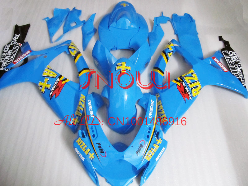 Light Blue for SUZUKI GSX R600 R750 06-<font><b>07</b></font> <font><b>GSXR</b></font> <font><b>600</b></font> 750 GSXR600 GSXR750 GSX-R600 GSX-R750 K6 06 <font><b>07</b></font> 2006 2007 <font><b>Fairing</b></font> <font><b>Kit</b></font> image