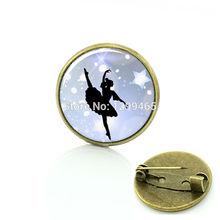 Купить с кэшбэком Dance Ornament  Ballerina brooch jewelry Pole Dance Bottle cap Gymnastics Yoga Art picture women charms jewellery C533