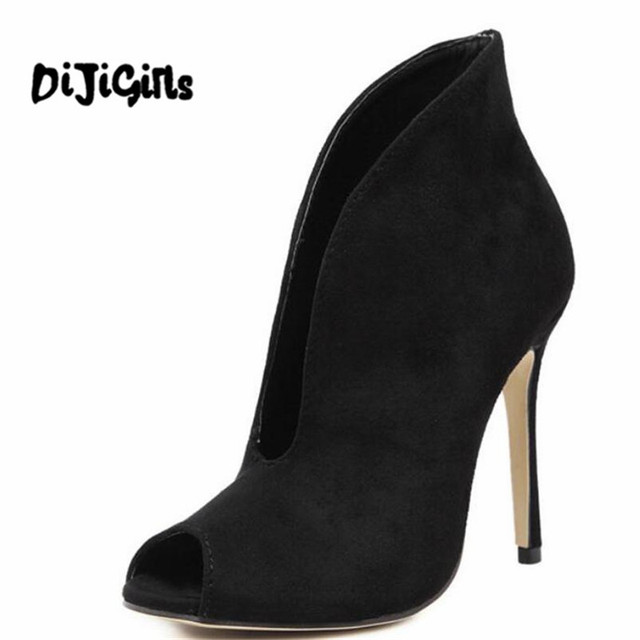 82622afb8a Spring/Autumn Suede High Heels Women Sexy V mouth Fish Head High Top High-heeled  Sandals Ladies Stiletto Pumps Ankle Boots Woman