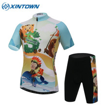 2017 Children Cycling Clothing Boys Girls Bike Jersey Shorts Sets Team Bicycle Ciclismo Kids MTB Shirts Cyc Top Suits(China)