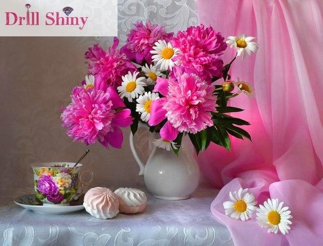New 5d Diy Diamond Embroidery Pink Chrysanthemum Vase Painting
