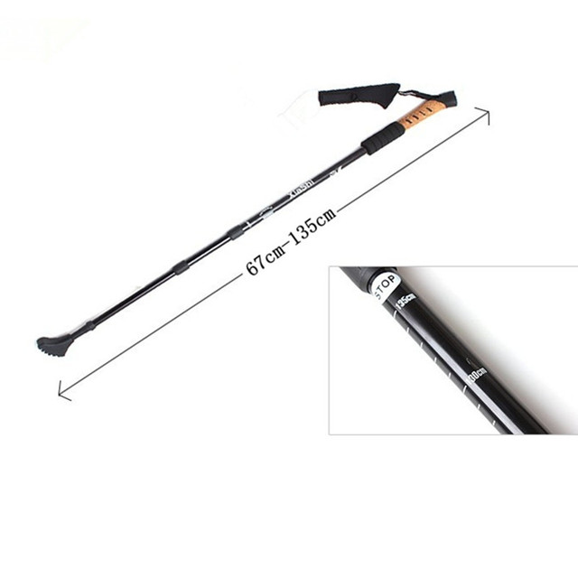 Adjustable Outdoor AntiShock Trekking Hiking Walking Stick Pole 3-section 67cm-135cm for Camping Mountaineering 4 colors